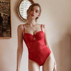 【PinLe】法式性感緊身聚攏微雕塑連身衣(紅色)bra-A007