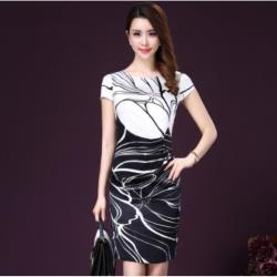 GIFT-氣質風修身顯瘦圓領短袖印花真絲女洋裝