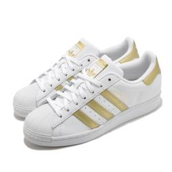 adidas 休閒鞋 Superstar 復古 低筒 女鞋 海外限定 愛迪達 三葉草 貝殼頭 皮革 白 金 FX7483 [ACS 跨運動]