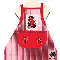 【M.B.H】釣魚熊純棉精緻圍裙(紅)
