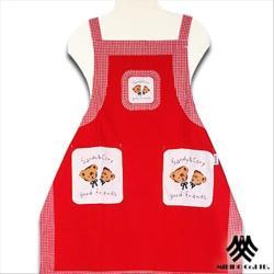【M.B.H】友誼熊純棉精緻圍裙(紅)