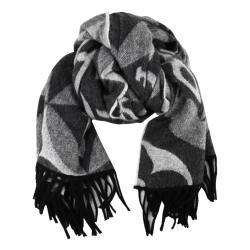 Louis Vuitton SINCE 1854 字樣花卉羊毛混紡流蘇圍巾(黑灰)