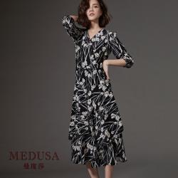 現貨【MEDUSA】白花飄逸切接長洋裝 / 雪紡印花洋裝 / 優雅長洋裝