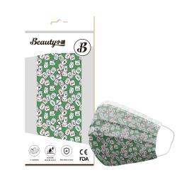 【Beauty小舖】印花3層防護口罩_自摸綠(10入/盒)- 符合CNS 14774國家檢驗標準