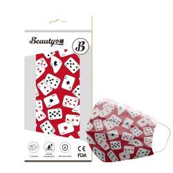 【Beauty小舖】印花3層防護口罩_賭神紅(10入/盒)- 符合CNS 14774國家檢驗標準
