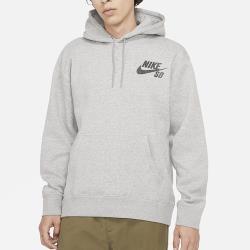 NIKE SB ICON 男裝 長袖 帽T 棉質 磨毛 保暖 休閒 滑板 灰 CW7065-063