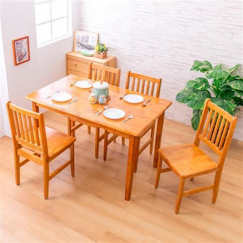 【AS】麗晶西餐桌+木面餐椅(一桌四椅組合)