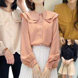 【A1 Darin】韓款雙層荷葉領珍珠扣飾寬鬆長袖雪紡襯衫(杏/粉/黃/黑 4色可選)