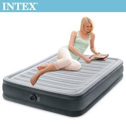 INTEX 豪華型橫條內建幫浦充氣床(FIBER TECH)-寬137cm(67767)