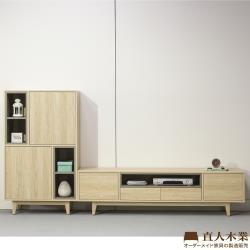 日本直人木業-VIEW北美楓木182電視櫃搭配80公分置物櫃