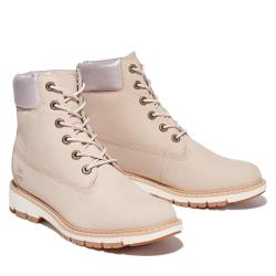 Timberland 女款淺米色磨砂革防水6吋輕量靴A2EUF269