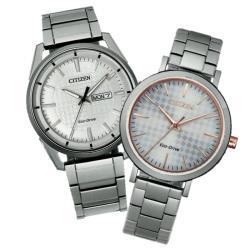 CITIZEN PAIR 光動能情人對錶 ( AW0080-57A + EM0766-50A )