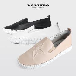 Robinlo甜美星星款全真牛皮懶人休閒鞋-黑/白/粉