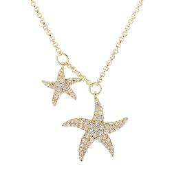 apm MONACO法國精品珠寶 閃耀金色鑲鋯雙海星可調整長項鍊 AC5351OXY
