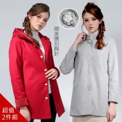 【A1 Darin】日本專櫃珍珠毛呢珠寶工藝大衣(兩件組)