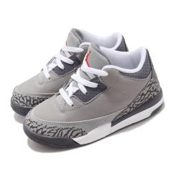 Nike 籃球鞋 Jordan Retro 3 童鞋 經典款 爆裂紋 復刻 穿搭 小童 灰 白 832033012 [ACS 跨運動]