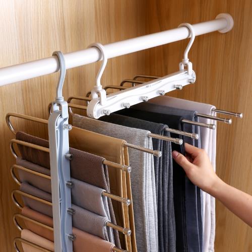 IDEA (6入)不銹鋼伸縮折疊收納褲裙衣架