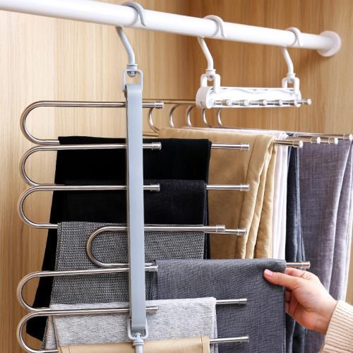 IDEA (3入)不銹鋼伸縮折疊收納褲裙衣架