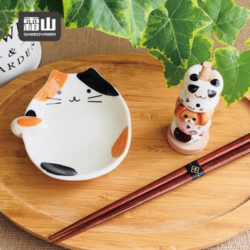 日本霜山 貓咪造型陶瓷彩釉碟型鍋勺/湯勺架