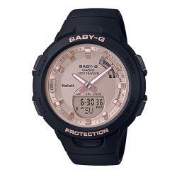 【CASIO 卡西歐】BABY-G藍牙休閒雙顯錶 樹脂錶帶 霧黑x玫瑰金 防水100米(BSA-B100MF-1A)