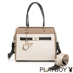 PLAYBOY-  方形手提包-附長背帶/寬背帶 摩登都市系列 -棕色