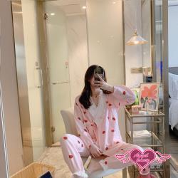 天使霓裳 哺乳衣 草莓甜心 棉質長袖孕婦裝月子服 舒適居家服睡衣(共2色F) HG20029