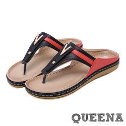 【QUEENA】時尚拼接撞色人字平底夾腳羅馬拖鞋 黑