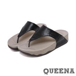 【QUEENA】度假風時尚歐美動物皮紋經典夾腳人字厚底拖鞋 黑