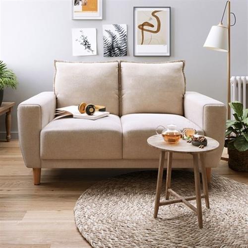 hoi!好好生活 林氏木業北歐小戶型雙人布沙發 LS075-米黃色