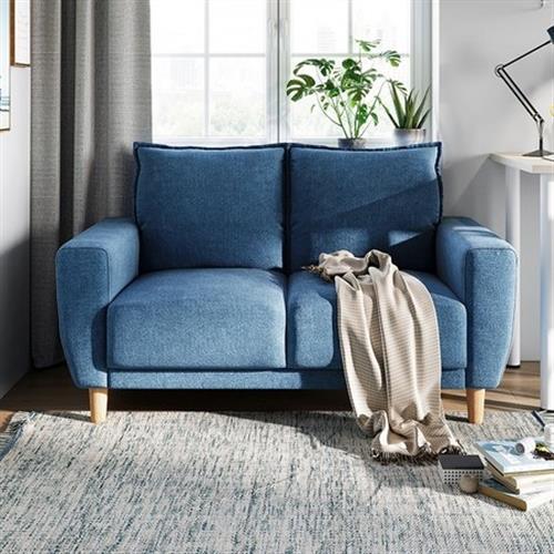 hoi!好好生活 林氏木業北歐小戶型雙人布沙發 LS075-藍色