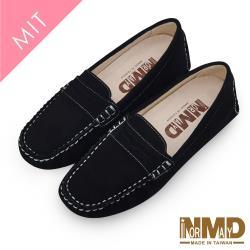 【諾曼地】頂規小羊反絨經典豆豆鞋(女款)-MIT台灣製(黑色/卡其)