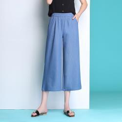 ALLK 歐楷 涼感鬆緊褲頭7分牛仔褲 共2色(尺寸F 26-34腰適穿)