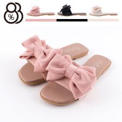 【88%】1cm涼鞋 優雅氣質蝴蝶結 方頭平底涼拖鞋