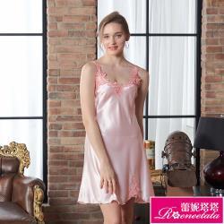 【蕾妮塔塔】彈力珍珠絲質 性感連身睡衣 簡約優雅(R96031-2粉)