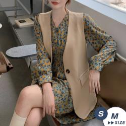 【LANNI 藍尼】現+預 韓版氣質英倫風西裝背心(西裝外套/背心/外套/外搭)
