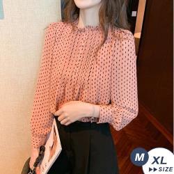 【LANNI 藍尼】現+預 優雅俏皮波點雪紡長袖襯衫(上衣/雪紡衫/襯衫/薄長袖)