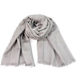 COACH  經典C LOGO 蠶絲羊毛圍巾/披肩 _亮灰色