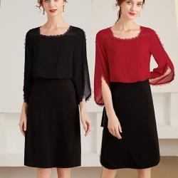 麗質達人 - 53039雪紡七分袖洋裝-二色