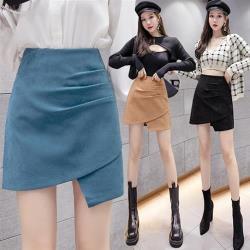 白色戀人-時尚修長不規則設計感包臀短裙S-XL(共三色)