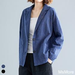 【MsMore】日俐落大方大碼棉麻條紋西裝外套#107466現貨+預購(深藍)