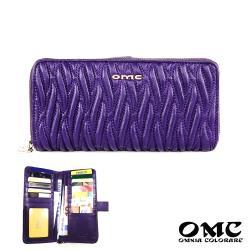【OMC】15卡1照浮雕針織舌扣拉鍊牛皮長夾-紫色