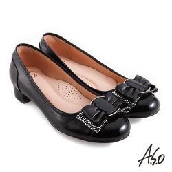 A.S.O 職場通勤 健步通勤層次蝴蝶結低跟鞋-黑