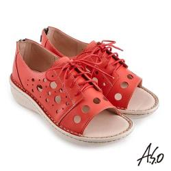 A.S.O 機能休閒 輕量樂活前開式綁帶休閒鞋-紅