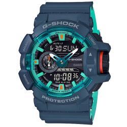 【CASIO 卡西歐】G-SHOCK 雙顯錶 橡膠錶帶 黑金 防水200米(GA-400CC-2A)