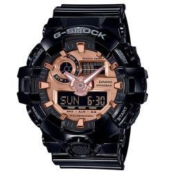 【CASIO 卡西歐】G-SHOCK 潮流雙顯男錶 橡膠錶帶 黑X玫瑰金 防水200米(GA-700MMC-1A)