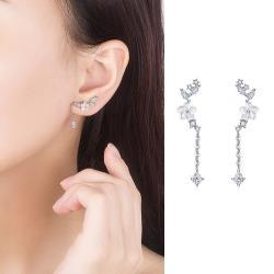 【Emi艾迷】韓系925銀針橙花蜜飄鋯石微鑲點綴耳環