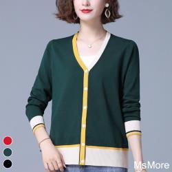 【MsMore】英倫劍橋風尚V領針織外套#108584現貨+預購(3色)