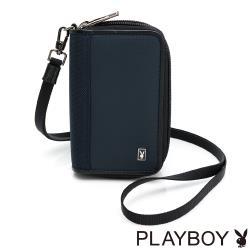 PLAYBOY - 雙層零錢鎖包-附頸掛繩  Navy系列 - 藍色