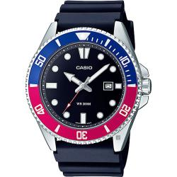 CASIO 新槍魚 MDV-107-1A3 200米潛水錶-紅藍水鬼