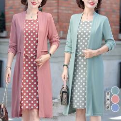 型-K.W.韓國 經典風格點點貴氣假二件式洋裝
